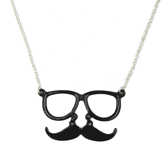 EYE GLASSES AND MOUSTACHE NECKLACE - product image