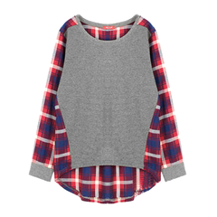 RAGLAN,SLEEVE,TOP,WITH,CHECK,PATTERN