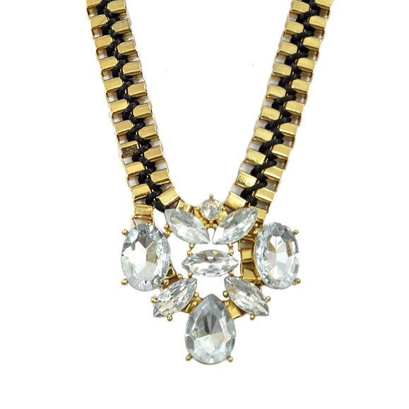 CRYSTAL CHARM BOX CHAIN NECKLACE - product image