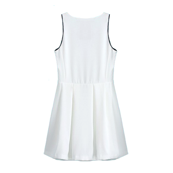 WHITE VEST DRESS WITH FRONT ZIP - product image