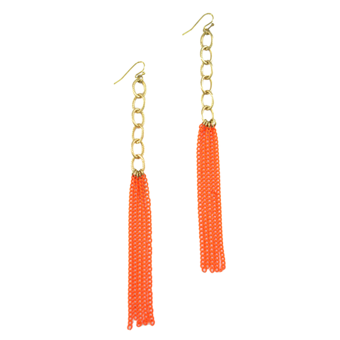 ORANGE,CHAIN,TASSEL,EARRINGS