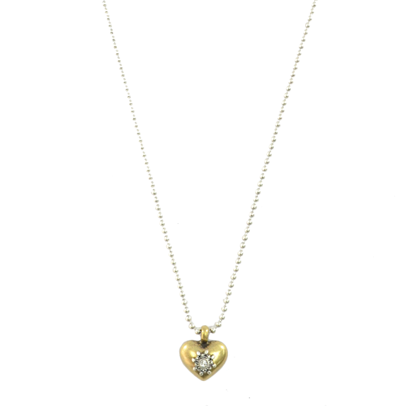VINTAGE CRYSTAL HEART CHARM NECKLACE - product image