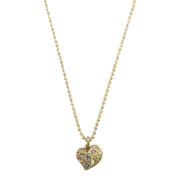 COLOUR CRYSTALS HEART CHARM NECKLACE - product image