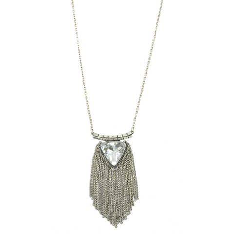 TRIANGLE,CRYSTAL,NECKLACE,WITH,CHAIN,TASSELS