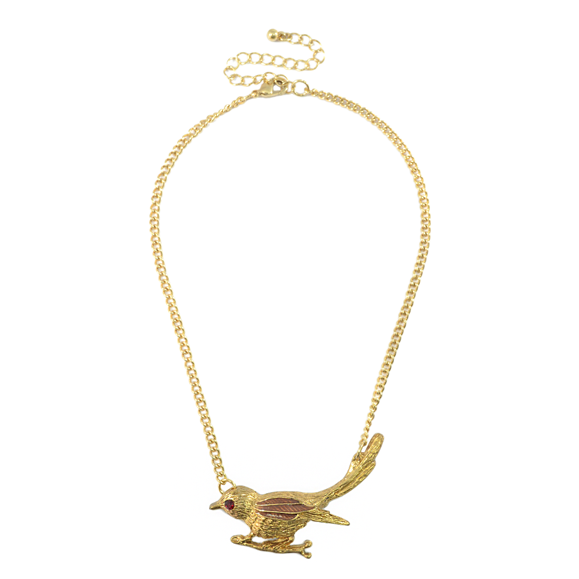 BIRD WITH CRYSTAL EYE NECKLACE - product image