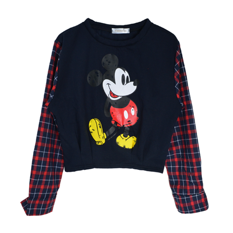 MICKY,WITH,CHECK,JUMPER,MICKEY JUMPER, CHECK SLEEVE JUMPER, MICKEY PRINT JUMPER, GREY MICKEY PRINT JUMPER