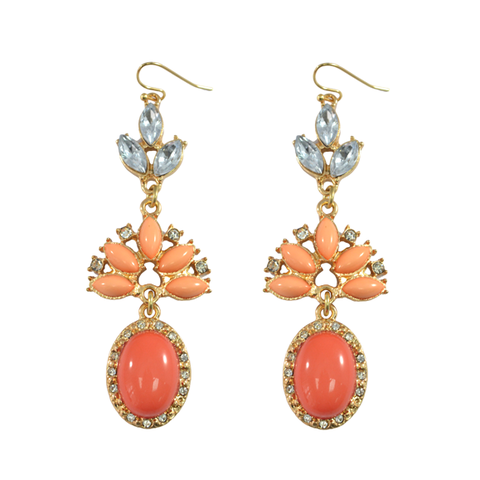 CRYSTAL,DECOR,DROP,EARRINGS,orange earrings, gemstone earrings, gem earrings
