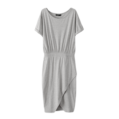 FITTED,WAIST,DRESS,grey dress, t shirt dress, cotton dress