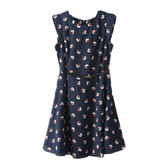 FLORAL,TEA,DRESS,tea dress, navy blue dress, floral dress
