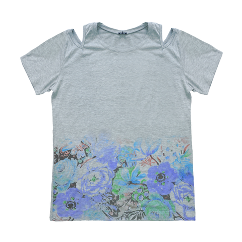 OPEN,SHOULDER,FLORAL,TEE,open shoulder, open shoulder top, flower t shirt, summer t shirt