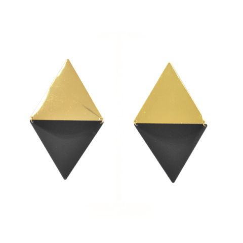 LARGE,DOUBLE,TRIANGLE,EARRINGS,triangle earrings, double triangle earrings, gold earrings, black earrings