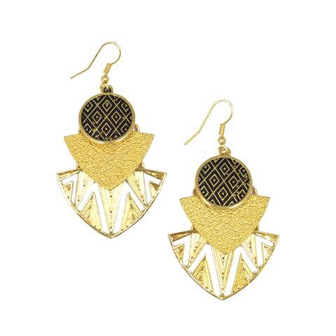 TRIBAL,PATTERN,EARRINGS,egypt earrings, metal earrings, triangle round earrings, large earrings