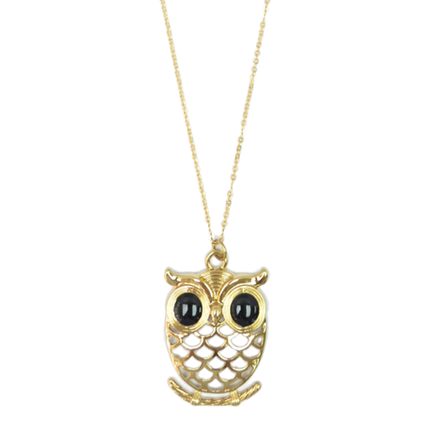 LARGE,OWL,NECKLACE,owl accessories, bird accessories gift, owl necklace, owl jewelry