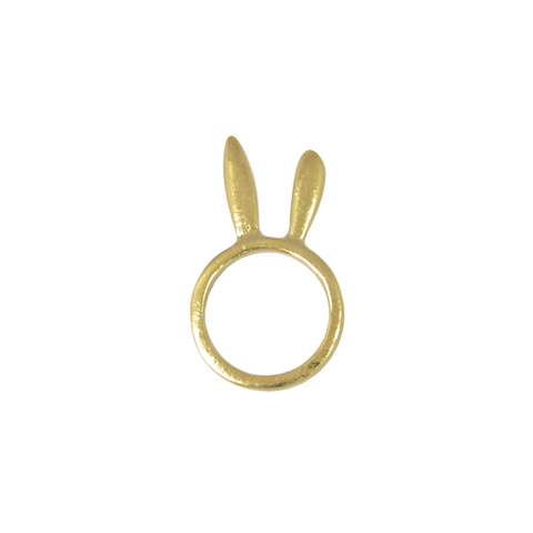 STANDING,RABBIT,EARS,--,Brushed,Gold,RING,rabbit ring, animal ear jewelry, ear ring, bunny ear ring