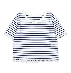 STRIPED,CROP,TEE,STRIPED TEE, LACE FLOWER, BLUE STRIPED TEE