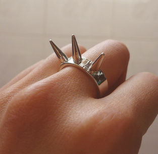 TRIPLE,SPIKE,RING,LITTLE SPIKE RING, GOLD SPIKE FASHION RING