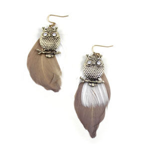 OWL WITH FEATHERS EARRINGS - product image