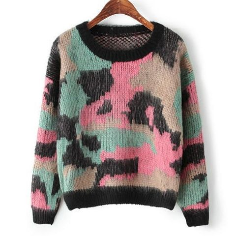 CAMOUFLAGE,KNITTED,JUMPER,CAMOUFLAGE CAMOUFLAGE, KNITTED JUMPER