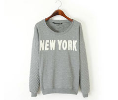 NEW,YORK,JUMPER,grey jumper, padded jumper, padded sleeve