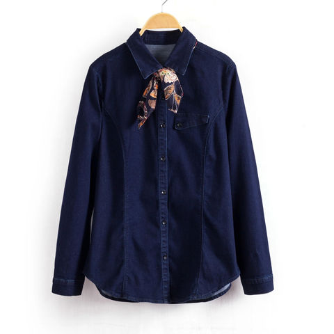STRETCH,DENIM,SHIRT,WITH,SCART,NAVY DENIM SHIRT, DENIM SHIRT, BLUE SHIRT,