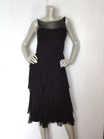 60s,Black,Cocktail,Dress,/,Vintage,Ruffle,Little,Size,SM,Clothing,ruffles,black,cocktail,formal,party,prom,ball_gown,brunch,feminine,60s_dress,little_black_dress,sleeveless,zipper,metal,acetate,sheer