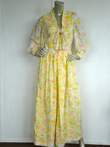 70s,Dress,/,Vintage,Flower,Hostess,Vanity,Fair,Yellow,Clothing,vanity_fair,flower_dress,floral_dress,yellow,green,white,pink,maxi_dress,v_neck,cotton,flare,hostess,lounge,metal,plastic