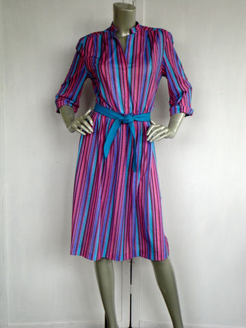 80s,Dress,/,Vintage,Striped,Purple,V,Neck,Day,cotton_dress,striped_dress,purple,pink,white,striped,da_dress,casual,feminine,elastic_waist,belted,blue,large,cotton