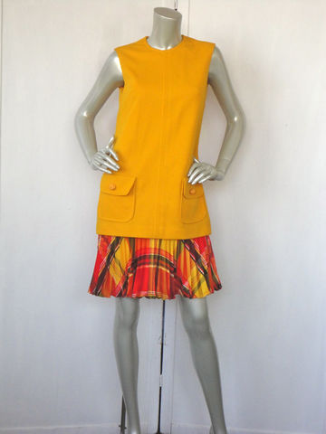 60s,Dress,/,Eve,Le,Coq,Designer,Drop,Waist,Pleated,Vintage,Clothing,pleated,flare,pleats,mad_men,yellow,orange,red,sleeveless,retro,drop_waist,mod,eve_le_coq,large,polyester
