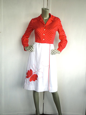 60s,Dress,/,Red,Vintage,Polka,Dot,and,White,Size,Medium,Clothing,polka_dots,red_white,red,white,mod,70s,jo_lester,retro,butterfly,wrap_around,skirt,medium,polyester,metal