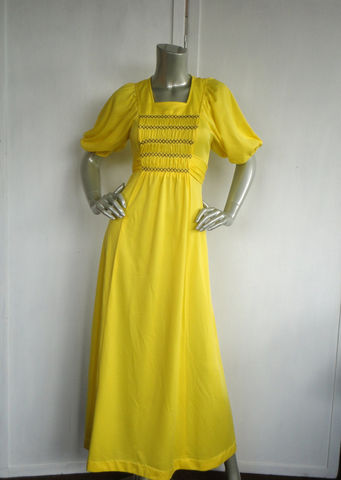 70s,Dress,/,Yellow,Hippie,Bohemian,Size,Medium,Vintage,Clothing,yellow_dress,70s_maxi_dress,hippie,boho,bohemian,woodstock,medium,bell_sleeves,ronda_roy,floor_length_dress,70s_yellow_dress,60s_yellow_dress,couture,polyester,metal