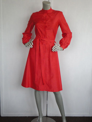 70s,Dress,/,Vintage,Red,Mandarin,Collar,Asian,Clothing,70s_dress,mandarin_collar,asian_dress,red_silk_dress,red,silk,woman,b_Altman,60s_dress,Cocktail,Knee_length,flare,mint_condition,Silk