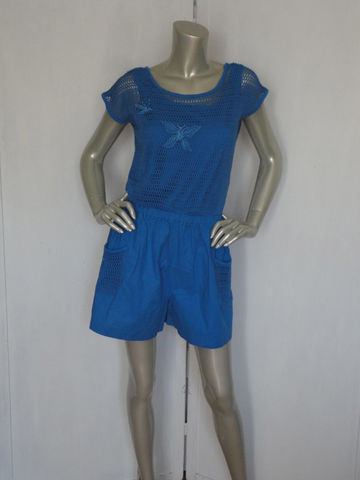 Vintage,80s,Romper,Jumpsuit,/,Blue,Shorts,Royal,Size,Large,Clothing,80s_romper,80s_jumpsuit,80s_short_romper,80s_short_jumpsuit,royal_blue_shorts,royal_blue_suit,80s_blue_shorts,butterflies,see_through_jumper,large_80s_jumper,80s_jumper,blue_jumper,cotton_romper