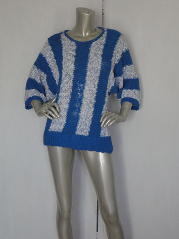 80s,Sweater,/,Vintage,Blue,Royal,and,White,Batwing,Medium,Clothing,80s_sweater,batwing_sweater,batwing_sleeves,disco_sweater,vintage_80s_sweater,blue_and_white,royal_blue,medium_blue,acrylic,peek_a_boo,pearl_button,striped_80s,80s_look