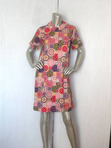 60s,Lounge,Dress,/,Robe,Vintage,Floral,House,Large,Clothing,Lingerie,60s_robe,loungewear,lounge_dress,poplin_collar,flora,green_red_pink,purple,hippie,retro,robe,dress,cotton,Cotton,metal