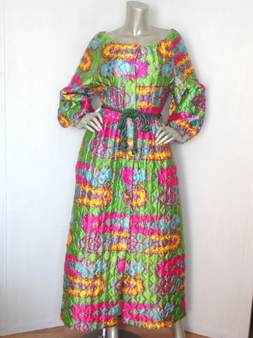 Vintage,Quilted,Robe,/,60s,Mod,Hostess,Dress,Retro,Large,Clothing,Lingerie,60s_robe,hostess_dress,Mod_dress,60s_maxi_dress,pop_art_dress,floral_maxi_dress,vintage_green_dress,yellow_vintage_dress,belted_vintage_dress,vintage_floral_dress,60s_hostess_gown,vintage_hostess,pink_vintage_dress,Polyester