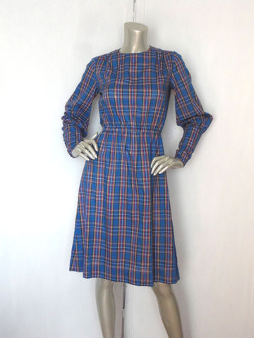 80s,Dress,/,Secretary,Vintage,Plaid,Blue,Day,Cotton,Clothing,80s_dress,secretary_dress,plaid,green,yellow,red,cotton,avant_garde,button_wrist,medium,office,metal