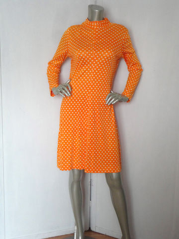 Vintage,60s,Dress,/,Polka,Dot,Orange,Pop,Art,Clothing,60s_orange_dress,60s_polka_dot_dress,polka_dot_dress,orange_white_dress,back_zipper_dress,mad_men,pop_art,retro,feminine,casual,fancy,medium,polka_dots,polyester,metal,spandex