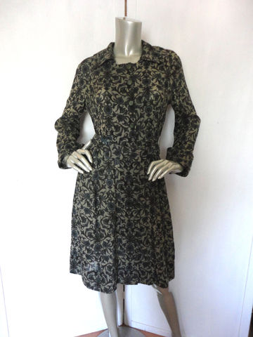 60s,Dress,/,1960s,Green,Hunter,Floral,Flower,Size,Large,Vintage,Clothing,60s_green_dress,hunter_green,1960s_green,floral_pattern_dress,floral_dress,60s_floral_dress,green_floral_dress,green_flower_dress,10_button_dress,attached_belt_dress,retro_60s_dress,mod_60s_dress,flare_dress,cotton,metal
