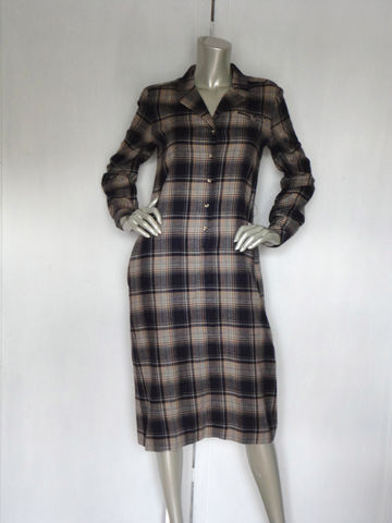 Vintage,Shirtdress,/,Evan,-Picone,Dress,60s,Large,ShirtDress,/Plaid,Clothing,evan_picone,60s_shirtdress,70s_shirtdress,vintage_plaid_dress,70s_plaid_dress,60s_plaid_dress,vintage_shirtdress,lord_and_taylors,designer_dress,large_shirtdress,blue_gray_beige,2_pocket_dress,pencil_dress,wool,cotton