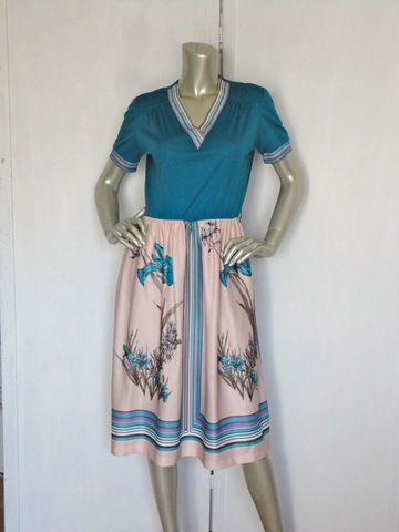 Vintage,70s,Dress,/,Lady,Carol,Flower,Bomb,Turquoise,Clothing,vintage_70s_dress,turquoise_dress,lady_carol,purple,green,beige,elastic_waist,casual,office,flowers,floral,v_neck,vneck,polyester