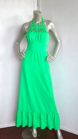 Vintage,70s,Dress,/,Green,Maxi,Clothing,70s_maxi_dress,lime_green_dress,green_maxi_dress,70s_green_dress,green_dress,summer,cocktail,garden,party,date,neon_green,medium,ruffle,metal,polyester