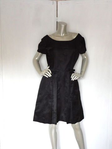 Vintage,Suzy,Perette,Dress,/,60s,Black,Cocktail,Clothing,suzy_perette_dress,60s_black_dress,1960s_cocktail_dress,60s_black_cocktail,black_cocktail_dress,bridesmaid_dress,wedding_attire,evening_black_dress,bow_dress,60s_bow_dress,prom_dress,black_party_dress,large_medium,satin,metal