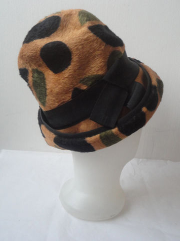 60s,Leopard,Hat,/,Vintage,Polka,Dot,Mr,John,Jr,Accessories,mr_john_jr,leopard,polka_dot,60s_mod_hat,retro,mad_men,italy,black_green_brown,bow,top_hat,hollywood_glamour,felt_wool,woman_lady,felt