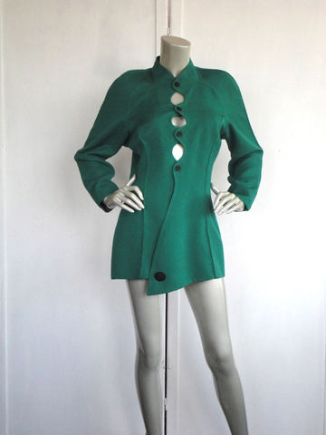 Vintage,Avant,Garde,Blazer,/,Green,90s,Jimmy,Gamba,Size,Medium,Clothing,Jacket,jimmy_gamba,avant_garde,couture,avantgarde_blazer,green_blazer,80s_90s_green_blazer,vintage_green_blazer,ribbed_blazer,green_jacket,size_8,peek_a_boo,pure_wool_blazer,size_medium,wool,plastic