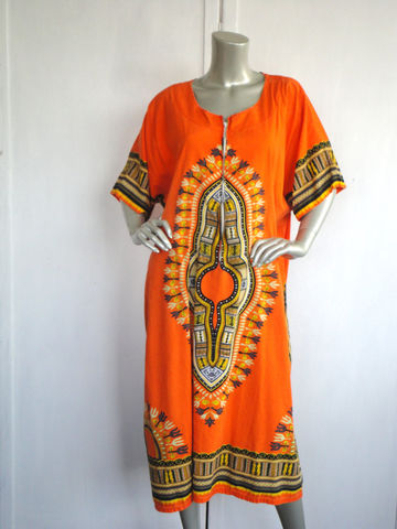 Vintage,Caftan,/,80s,Orange,Dashiki,Tribal,Clothing,Dress,dashiki,caftan,80s_dashiki,80s_caftan,orange,tribal_caftan,tribal_dashiki,cotton,front_zipper,tribal_dress,caftan_dress,pocket_caftan,tribal_hostess,metal