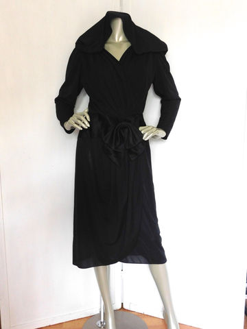 Vintage,80s,Black,Dress,Avant,Garde,40s,Style,Does,With,Bow,Clothing,Women,80s_40s_style_dress,40s_style_dress,lbd,little_black_dress,80s_cocktail_dress,40s_black_dress,40s_cocktail_dress,ruching,sheer,party,mad_men,rhinestones,rhinstones,acetate