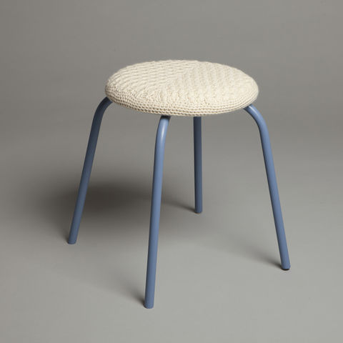 Blue,Stool,blue stool, crochet, stool, furniture