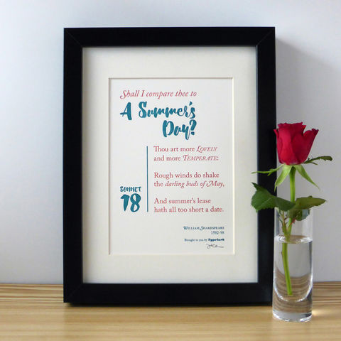 Shakespeare:,Sonnet,18,'Shall,I,Compare,Thee,To,A,Summer's,Day?',-,A5,Letterpress,Typographic,Print,(Sold,UNFRAMED),Art, Printmaking, Letterpress, print, typography, type, English, traditional, literature, poetry, poem, sonnet, love, red, white, teal, Shakespeare, William Shakespeare, Bard, Sonnet 18, Shall I Compare Thee To A Summer's Day
