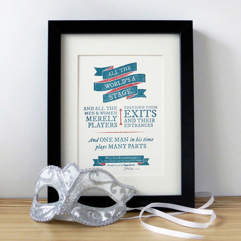 Shakespeare:,As,You,Like,It,'All,the,World's,A,Stage',-,A5,Letterpress,Typographic,Print,(Sold,UNFRAMED),Art, Printmaking, Letterpress, print, typography, type, English, traditional, literature, drama, theatre, play, red, white, teal, Shakespeare, William Shakespeare, Bard, As You Like It, All the World's A Stage
