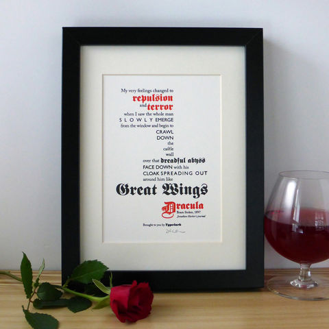 Dracula,-,A5,Letterpress,Typographic,Print,(Sold,UNFRAMED),Art, Printmaking, Letterpress, print, typography, type, English, traditional, literature, horror, gothic, red, white, black, Dracula, Bram, Stoker